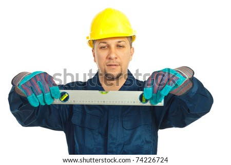 Constructor worker man holding bubble level isolated on white background