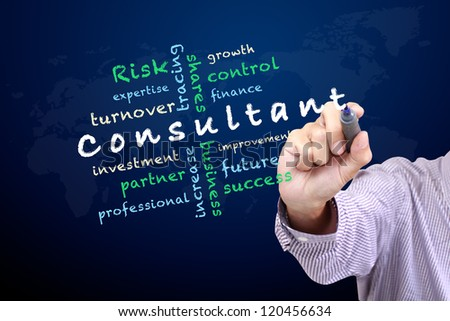 Consultant concept ideas and other related words, Hand with pen write on whiteboard