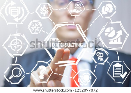 Consultant push a consulting speech bubble button on a virtual screen. Consulting. Business Financial Law Consult concept.