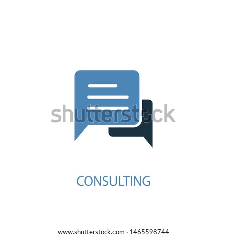 Consulting concept 2 colored icon. Simple blue element illustration. Consulting concept symbol design. Can be used for web and mobile UI/UX