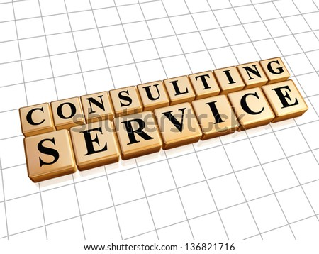 consulting service - text in 3d golden cubes with black letters, business support concept