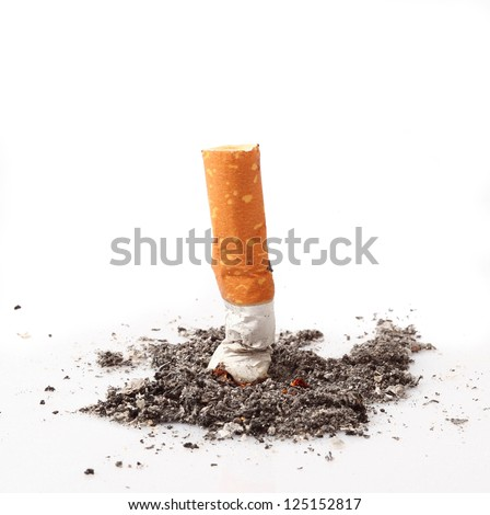 consumed cigarette in white background