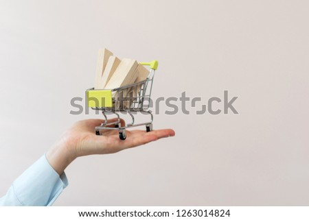 Consumer and consumerism concept. Lady in her formal wear shirt stand indoor light room. She make advice demonstrate little shopping cart on palm hand isolated on pastel pink background