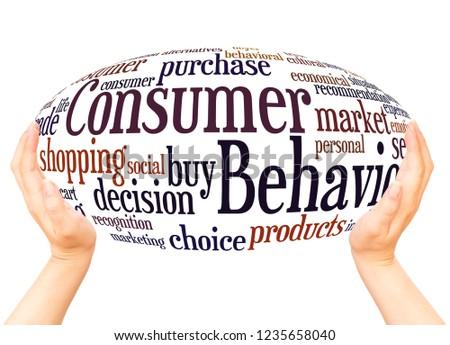 Consumer Behavior word cloud hand sphere concept on white background.