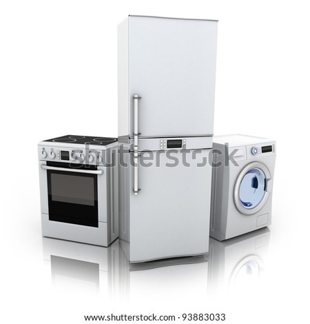 Consumer electronics.Fridge,washer and electric-cooker (done in 3d)