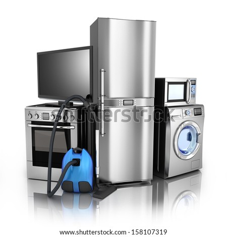 Consumer electronics.TV,Fridge,vacuum cleaner,microwave,washer and electric-cooker
