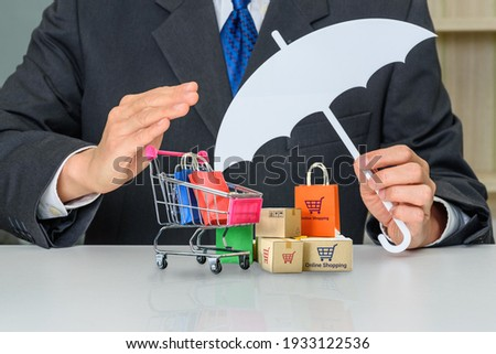 Consumer rights and consumer protection, business law concept : Buyer or purchaser protects bags and boxes of goods purchased online from internet retailer website, depicts caring on products bought