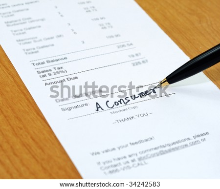 Consumer signing on a sale transaction receipt
