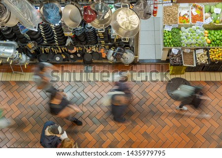 Consumers circulate in the interior corridors of the historic Mercado Central in Belo Horizonte, Minas Gerais, Brazil.