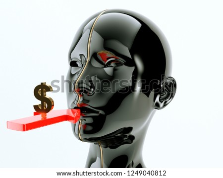 Consumption or consumerism arrow and dollar sign near human or customer mouth. 3d render, 3d illustration