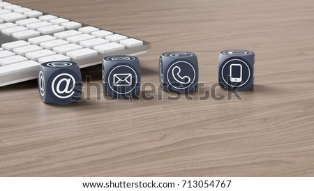 Contact communication customer service hotline concept with many cubes (3D Rendering)