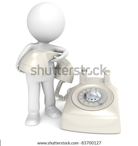 Contact. 3D little human character with a Telephone, retro cream white plastic. People series.