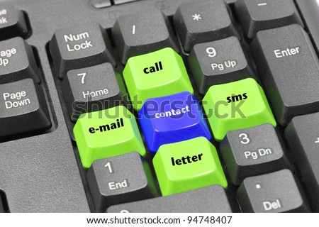 Contact, email, letter, call, Short Message Service word on green, blue and black keyboard button