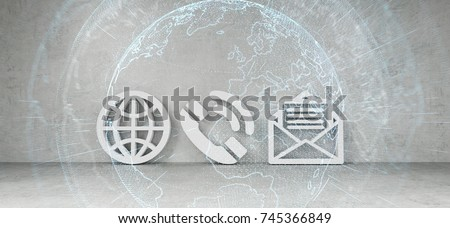 Contact icons connected to each other in modern interior 3D rendering