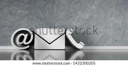 Contact icons leaning against a wall - communications symbols - 3D illustration Foto stock ©