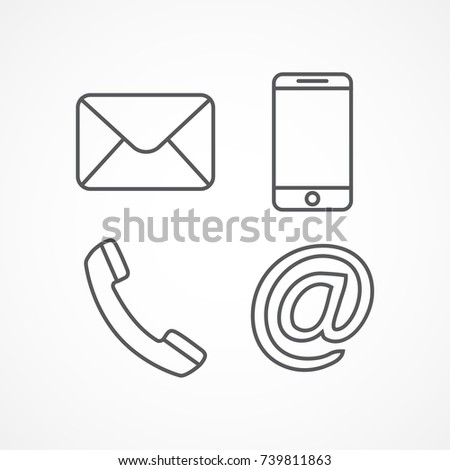 Contact Line Icons on white background