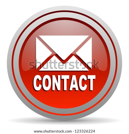 contact red glossy icon on white background