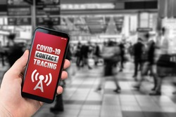 Contact tracing app concept on generic mockup smartphone for Covid-19 pandemic to trace people who have got infected by the virus.