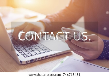 contact us - a message ,businessman working with modern devices, student boy using digital tablet computer and mobile smart phone,business concept,selective focus,vintage color #746715481