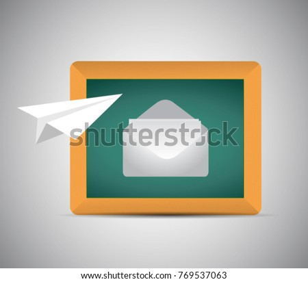 contact us air paper mail plane concept illustration design over a blue background