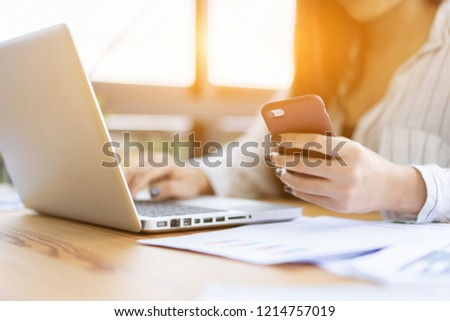 contact us,businesswoman work by modern devices, she uses digital tablet computer ,mobile smartphone for New marketing plan researching mobile phone,email, telephone ,e-mail address wifi icon concept  #1214757019