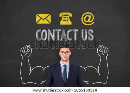 Contact Us Button on Blackboard Background