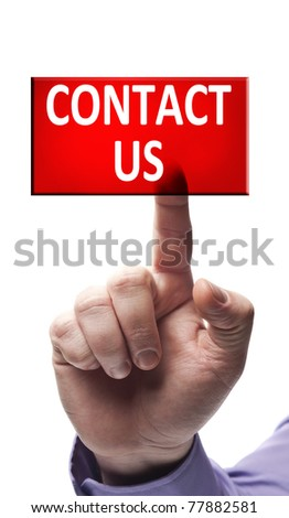 Contact us button pressed by male hand