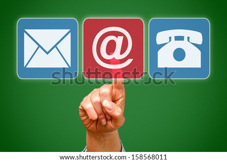 Contact us - Button with Hand