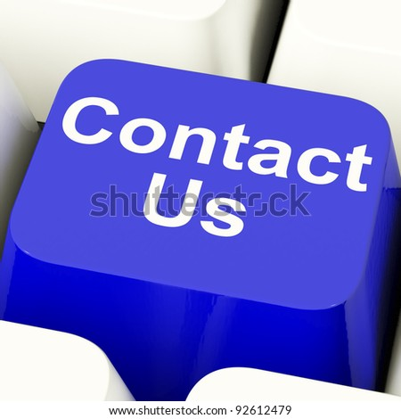 Contact Us Computer Key In Blue For Help Or Assistance