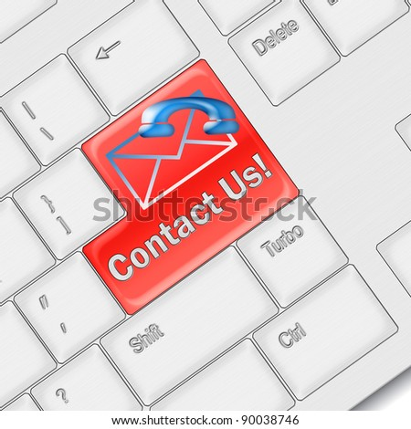 Contact us concept - computer keyboard with Contact us keypad
