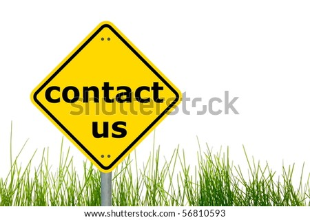 contact us concept with a traffic marker in yellow