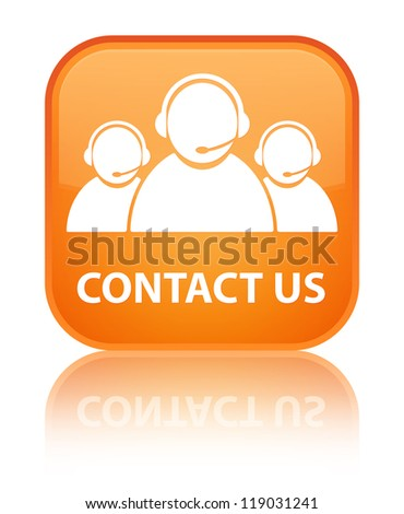Contact Us (customer care team) glossy orange reflected square b