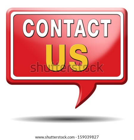contact us for feedback icon or sign. Coordinates and address for customer support and extra information