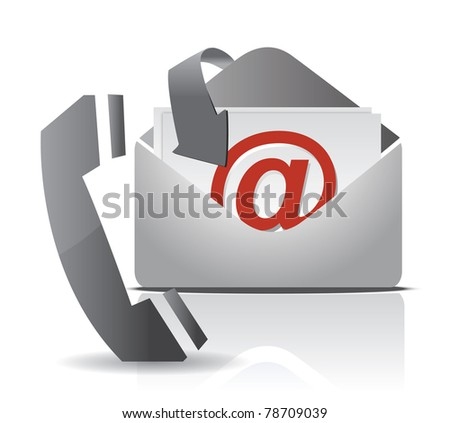 contact us illustration design isolated over white