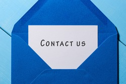 Contact Us - mail message at blue envelope
