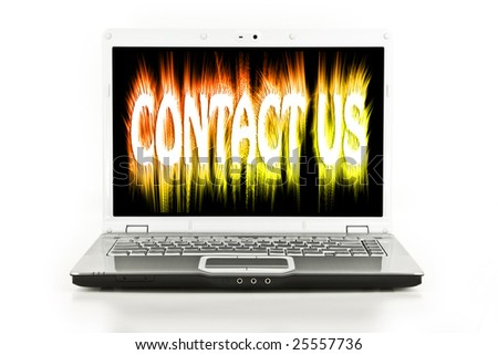 Contact Us message on a laptop / notebook screen isolated on white