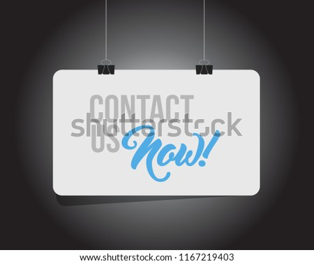 Contact us now hanging banner message isolated over a black background