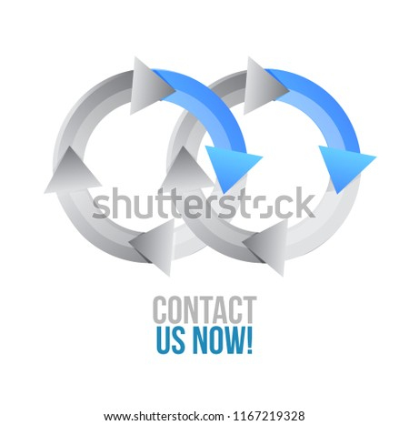 Contact us now. moving together cycle concept sign isolated over a white background