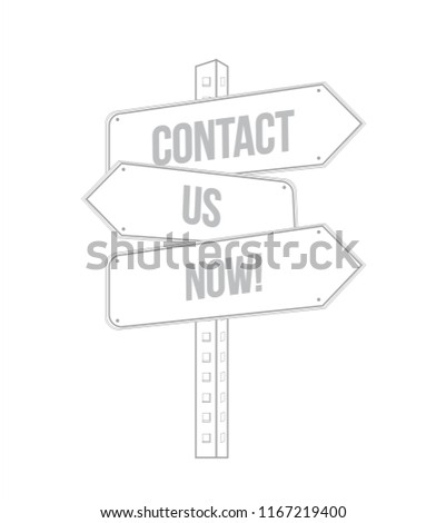 contact us now multiple destination street sign isolated over a white background