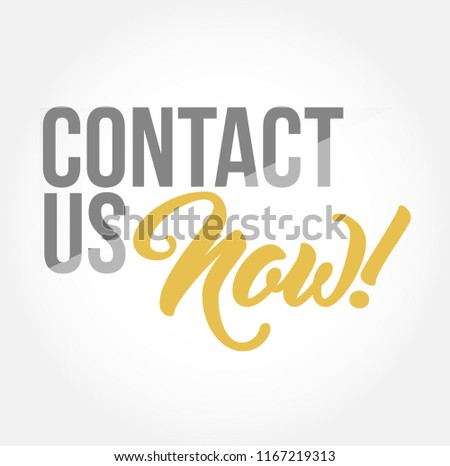 Contact us now stylish typography copy message isolated over a white background