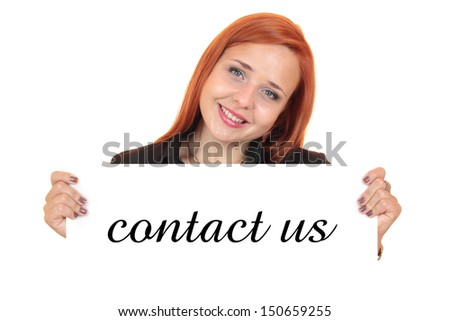 Contact us. Portrait of a beautiful young woman holding up copy space.