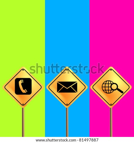 contact us sign board on colors background