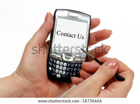 Contact Us text on a white PDA screen. Great for website contact pages