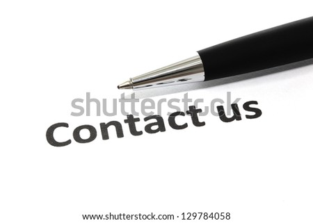 Contact us with pen isolated