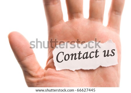 contact us, word in hand, word on piece tear paper