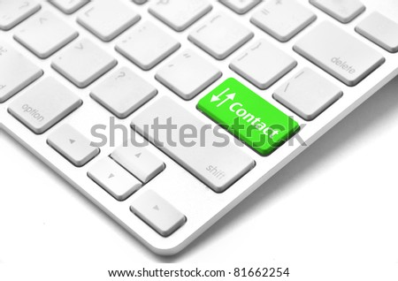 contact us word on computer keyboard key showing business commun