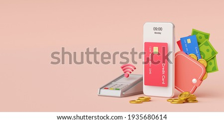 Contactless payment via NFC technology wireless pay by credit card or money wallet on smartphone, 3d rendering