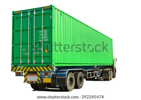 Container at the Dock with Truck isolated on white background. This has clipping path. #392245474