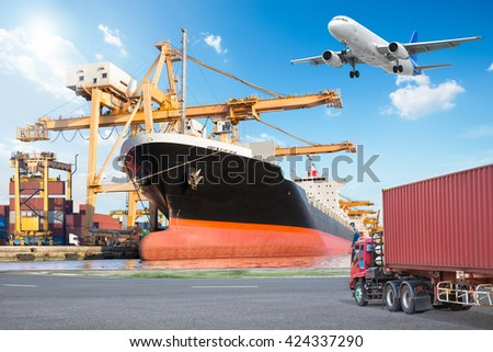 Container cargo freight ship with working crane loading bridge in port and truck transport container with cargo freight plane in transport for logistic import export concept