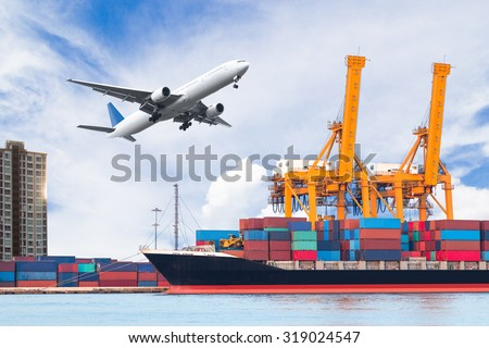 Container cargo freight ship with working crane loading bridge in shipyard for logistic Import export background
